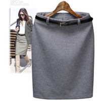 Wholesale Long Pencil Formal - S-3XL Plus Size Winter Autumn Wool Pencil Skirt Women's Formal OL Wear to work Medium-long High Waist Skirt with Belt SKT365