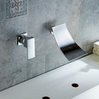Wholesale sink tap wall mounted - Wall Mount Faucet Mixer Tap Widespread Waterfall Lavatory Single Handle Save Water BRASS Body Wide Fallingwater Spout Bathroom Bathtub Sink