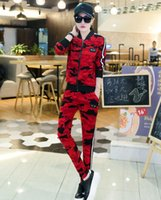 Wholesale Boat Neck Cardigan - Tide brand 2017 spring and autumn new lady casual cardigan camouflage sports suit
