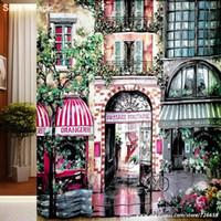 Wholesale Paris Shower Curtain - Wholesale- 2016 new ! Romantic Paris Cafe polyester high-definition printing waterproof mildew shower curtain