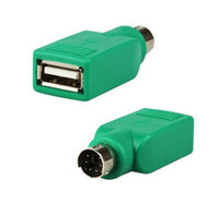 Wholesale usb male ps female online - USB Universal Mouse Mice Keyboard Type A Female to PS2 PS pin mini din Male Adapter Converter Adaptor Computer Cables Green