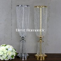 Wholesale Tall Crystal Flower Stands - 100CM Tall 10pcs Flower Design Metal Wedding Centerpiece Stand With Crystal Bead Crystal Wedding Centerpiece Flower Candle Holder