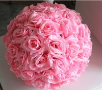 adornos de bolas de seda al por mayor-Nuevo diseño Artificial Wedding Flower Ball Decor Decorativo Rose Adornos de seda Kissing Ball Decorate Christmas Decoration Hanging Party