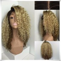Wholesale Wig Golden - Fashion Ombre Natural Black Golden Synthetic Lace Front Wig Heat Resistant Hair Afro natural Kinky Curly Women Wigs for women with babyhair