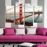 Wholesale Gates Oil - 4 pcs USA Famous Building Golden Gate Bridge Oil Painting print On Canvas Painted Unique halloween For home Decoration
