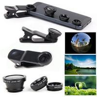 универсальный объектив камеры для iphone оптовых-Объектив камеры сотового телефона 3 в 1 широкоугольный макро объектив