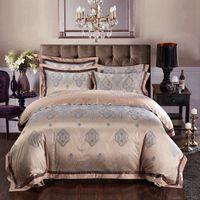 Wholesale Cotton Satin Bedding Set Blue - Wholesale- Silk bed linen satin jacquard gold red purple pink blue bedding set bedclothes bedspread queen king size sheet duvet cover sets