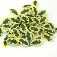 Wholesale Green Leaves For Crafts - Cheap 100pcs Plastic Artificial Green Leaves For Wedding Decoration Garland Rose Leaf Foliage Scrapbooking Craft Flowers Foliage