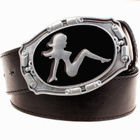 Wholesale Cowboy Sexy Man - Wholesale- Fashion belt Metal buckle Retro sexy women pattern belts hot girl cowboy style men jeans belt Hip hop Street accessories