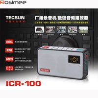 Wholesale original mini sd card - Wholesale-Original Audio Recorder player CIR100 Broadcast Recorder Mini Radio Tecsun ICR-100 FM radio TF SD card speaker Portable Radio