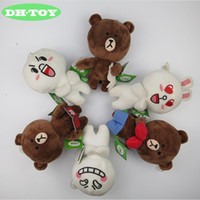 Wholesale Doll Gif - 18cm Line Friends Brown Bear Plush Toys Cony Rabbit Plush Stuffed Doll for Girl Friend Kids Gif toys for kids