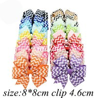 Wholesale Chevron Hair - 4Inch Girls Zigzag Chevron Ribbon Hair Bows Clips Hairpin Baby Butterfly Striped Barrettes Hairgrip Headware Kids Hair Accessories 20colors
