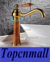 Wholesale Marble Tap - Rotatable Faucet With Soild Brass Gold Finish Marble Stone Body Single Handle one hole Cold and Hot Water Tap Bathroom Sink Faucet