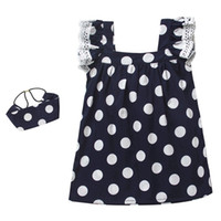 Wholesale Hair Pieces For Babies - Baby dresses with hair band lace ruffle fly sleeve princess dress for girls cute polka dots dress 2pcs sets toddler kids cotton clothesT2758