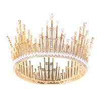 Wholesale big wedding hair online - European Big Gold And Silver Plated crystal faux pearls Wedding Photo Prop Headpiece Tiaras Crown