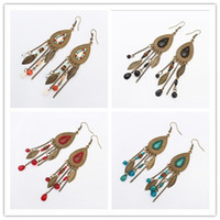 Wholesale European Beads Earrings - Retro Bohemian Oval Leaf Mulit 4 Colors Tassel Earrings European USA Fashion Wholesale Beads Earrings Free Shipping