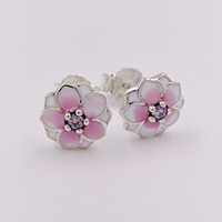 black magnolia - Authentic Sterling Silver Studs Magnolia Blooms Stud Earrings Fits European Pandora Style Jewelry PCZ