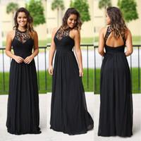 siyah düğün nedime elbiseleri toptan satış-Seksi Uzun Siyah Şifon Genç Nedime Elbiseler Halter Boyun Ucuz Dantel Ülke Plaj Yaz Nedime Elbisesi Düğün Konuk Parti Abiye