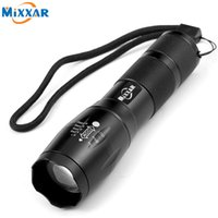 Wholesale Xml T6 Led Flashlight - E17 CREE XML T6 4000LM High Power LED Torches Tactical LED Flashlights 5 Mode Zoomable Torch Light For 18650 or 3xAAA Battery