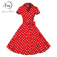 Wholesale Print Audrey - 2017 Audrey Hepburn Summer Dress Women Polka Dot Vintage Swing Robe Rockabilly Housewife Retro 50s Pinup Dresses Vestidos WQ0979
