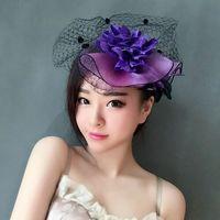 vestido de véu roxo venda por atacado-Mulher cocar cabelo Roxo pena noiva pequeno chapéu véu cocar jantar chapéu vestido acessórios hairpin retro.