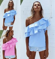 Wholesale Ladies Tops Frills - Womens Off Shoulder Tops Blouse Shirt Ladies Summer One Shoulder Ruffle Frill Striped Top Tee Shirts