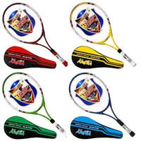 ingrosso stringa in alluminio-Racchetta da tennis a 4 razze in alluminio ultraleggero a caldo per adulti Racchetta da allenamento per studenti adulti con string Racchetta gratuita Formato impugnatura: 4 1/4