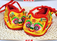 Wholesale Chinese Traditional Embroidery Baby tiger head Shoes Infant Soft Bottom Baby Cloth Shoes Baby Chinese Tiger Auspicious M