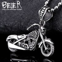 Wholesale Exquisite Stone - Wholesale- Beier new store 316L Stainless Steel Pendant Necklace Motorcycle men exquisite biker pendant personality Jewelry BP8-130