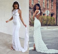 Wholesale Cheap Girls Maxi Dresses - White Backless Mermaid Wedding Dresses 2017 Vestido De Noiva Lace Garden Summer Long Cheap Split Boho Maxi Bridal Gowns for Girls