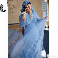 Wholesale Sexy Woman Hat Summer - Elegant Muslim Dust Blue Evening Dresses 2017 Lace Appliques with Beads Mermaid Women Formal Turkish Bridal Gowns With Hat Custom Made