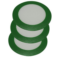 Wholesale Silicone Round Pads - FDA approved grren Round shape Silicone Mats Wax Non-Stick Pads Silicon Dry Herb Mat Food Grade Baking Mat Dabber Sheets Jars Dab Pad