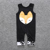 Wholesale Head Brand Baby - Baby Summer Rompers Infant Toddlers Fox Head Print Onesies Jumpsuit Baby Boys Girls Sleeveless Climb Rompers