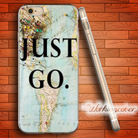 Wholesale Iphone 5c Map - Capa Just Go Travel Map Soft Clear TPU Case for iPhone 6 6S 7 Plus 5S SE 5 5C 4S 4 Case Silicone Cover.