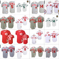 Wholesale Mitchell Ness Throwbacks - Red white Throwback 14 Pete Rose 5 Johnny Bench Morgan Tony Perez Jersey , Men's Mitchell And Ness Grey 1969 Cincinnati Reds 1990 Turn Back