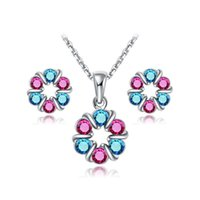 Diamond blue and white diamond earrings - Wedding Jewelry Set Flower Shape K White Gold Plated Pendant Necklace Earring Studs Kit with Blue and Pink Austrian Crystals For Woman