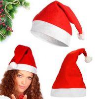 ingrosso rosso cappello natale-Cappello di Babbo Natale rosso Ultra morbido peluche Natale Cosplay Cappelli Decorazione di Natale Adulti Cappellini di Natale CCA7310 200 pezzi