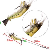 Wholesale Shrimp Electronic - Wholesale 10cm 12g LED Electronic Luminous Squid Jig Night Fishing High Simulation Soft Gray Shrimp Bait Hook Shrimp