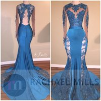 Wholesale Stretchy Lace Dress - Illusion Long Sleeves 2017 New Ocean Blue Lace Appliques Prom Dresses Sheer Mermaid Keyhole Backless Stretchy Sweep Train Evening Gowns