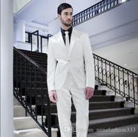 Wholesale Men S Silk Skinny Ties - Free shipping Custom made bright silk white tuxedos one button peak lapel men suit(Jacket +pants+tie)