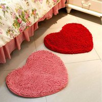 Loop Pile blue chenille rug - 50 CM Suede Solid Bedroom Rug Carpet Floor Bath Mat Love Heart Doormat Drop Shipping