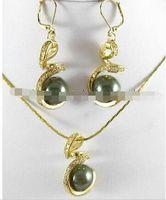 coquillages verts achat en gros de-12mm Army Green South Sea Shell Boucles D'oreilles Perles Collier Pendentif Ensemble 18