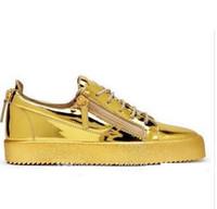 Wholesale Black Zipper Shoes - Europe America Men Designer Shoes Zipper Flat leather Men's Women's Casual Shoes Low Top Sneakers Fashion Mens Shoes Free Shipping