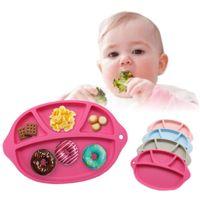 ingrosso piatti di alimentazione per bambini-Silicone Baby Bowl Safe Placemat Separato design piatto antiscivolo Kid Snack Dinner Plate Baby Nutrire Bowl