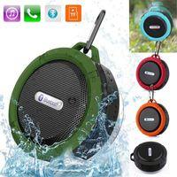 sesli hoparlörler toptan satış-C6 Outdoor Spor Duş Portable Su geçirmez Kablosuz Bluetooth Hoparlör Emme Kupası Ahizesiz MIC Ses Kutusu iphone 6 7 8 için iPad PC Telefon