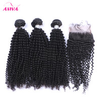 Wholesale Kinky Curly Virgin Unprocessed Weave - 4Pcs Lot Brazilian Curly Virgin Hair With Closure Grade 8A Unprocessed Brazilian Kinky Curly Virgin Hair Weave Bundles And Top Lace Closures
