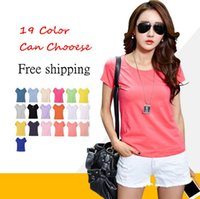 Wholesale solid colored shirts - Wholesale- 2016 New Women T-shirt Korean Short-sleeved T-shirt Slim Was Thin 19 Color Candy-colored Summer Styes Shirt Large Size Short