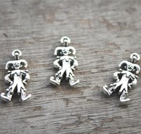 Wholesale Antique Clown - 20pcs--Clown Charms, Antique Tibetan Silver Tone Clown charm pendant, 24x12mm