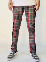 Wholesale Fashion Scotland - 2018 Mew Best version men Selvedge zipper Scotland plaid Joining together Men pants justin bieber Fashion Casual grid pants fog