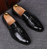 Wholesale Casual Tassel Loafers Men - England designer new brand casual wedding party dress alligator genuine leather shoes slip on flats shoe oxfords tassel loafers male